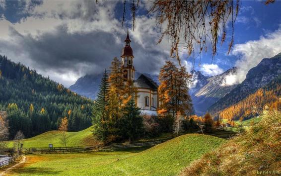 Papéis de Parede Áustria, igreja, árvores, montanhas, nuvens