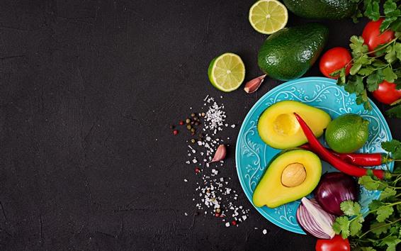 Wallpaper Avocado, lime, onion, tomato, peppers