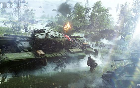 Fondos de pantalla Campo de batalla 5, soldados, tanques.