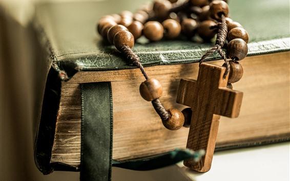 Wallpaper Beads, cross, book, still life