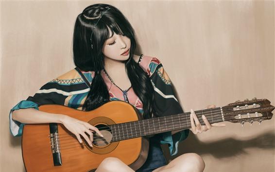 Wallpaper Beautiful Asian girl play guitar