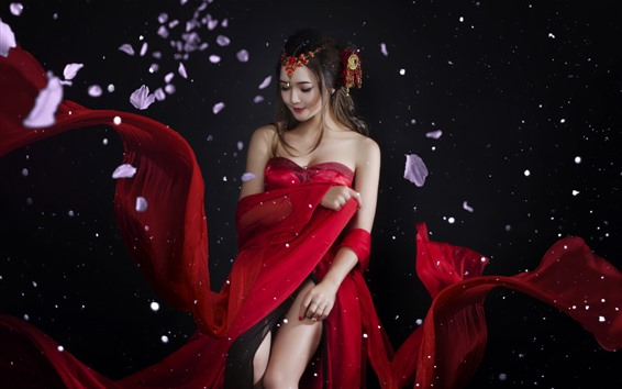 Wallpaper Beautiful Chinese girl, red skirt, ancient style, petals