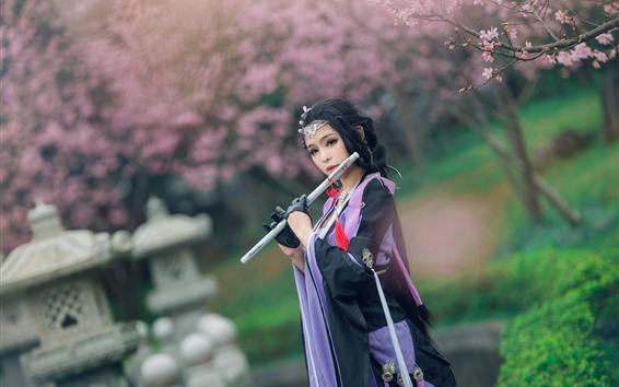 Fond d'écran Belle fille chinoise, style rétro, flûte