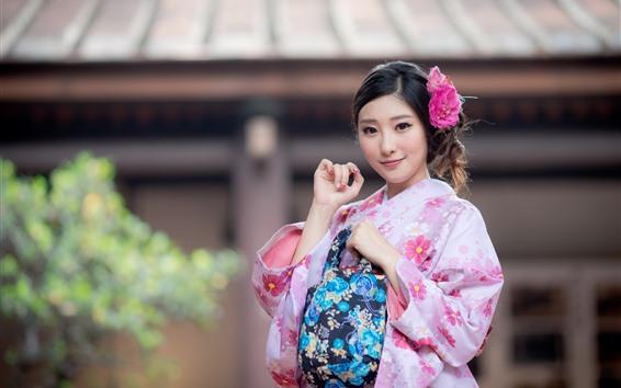 壁紙 美しい日本の女の子、ピンクの着物、花