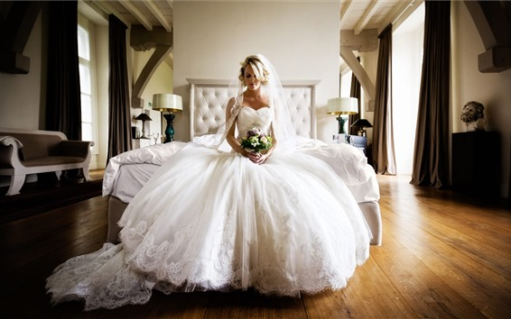 Wallpaper Beautiful bride, white skirt, flowers, wedding, bedroom