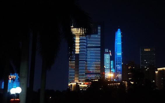 Papéis de Parede Belas luzes mostram, estilo azul, arranha-céus, Shenzhen