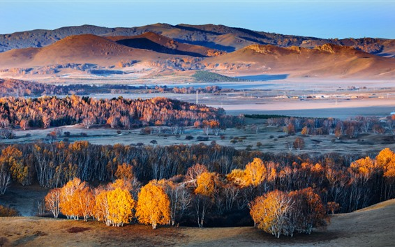 Fond d'écran Paysage naturel magnifique, arbres, collines, automne, Chine