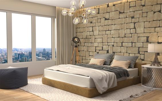 壁紙 ベッドルーム、ベッド、窓、ランプ、インテリア