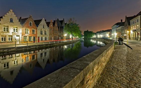Fond d'écran Belgique, Bruges, rivière, maisons, ville, nuit, lumières