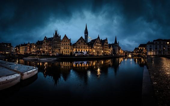 Wallpaper Belgium, Ghent, night, city, river, bridge, houses, lights