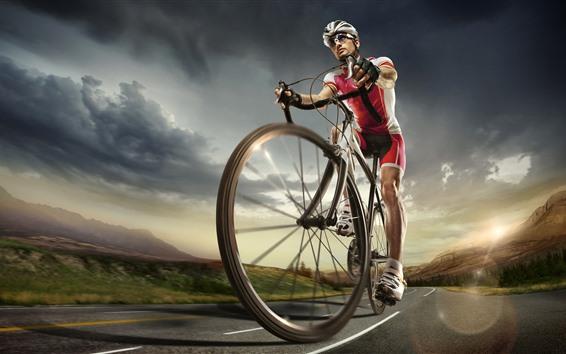 Wallpaper Bike, sporter, road, clouds, sky