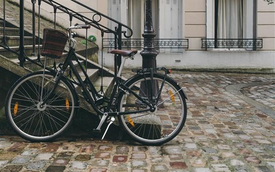 Wallpaper Bike, street, stairs, houses