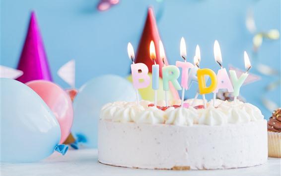 Wallpaper Birthday cake, candles, flame, cream, balloon
