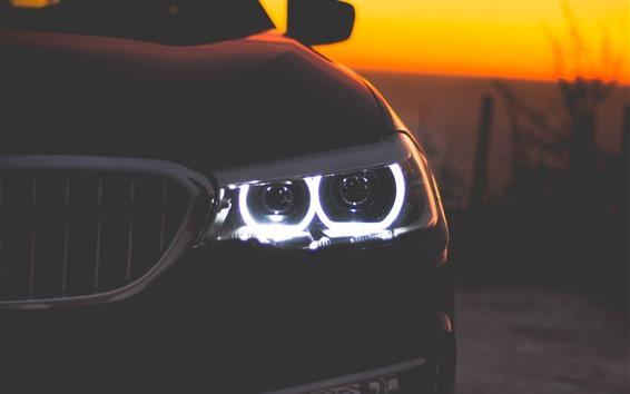 Wallpaper Black car front view, headlight, dusk