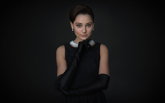 Wallpaper Black skirt girl, darkness