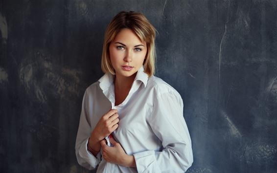 Blondes Mädchen Kurze Haare Weißes Hemd 5120x2880 Uhd 5k