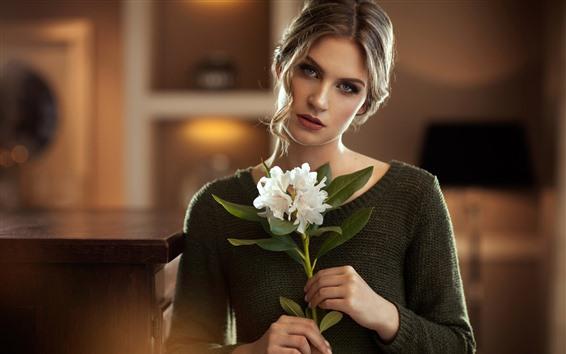 Wallpaper Blonde girl, white flowers, bouquet, sweater