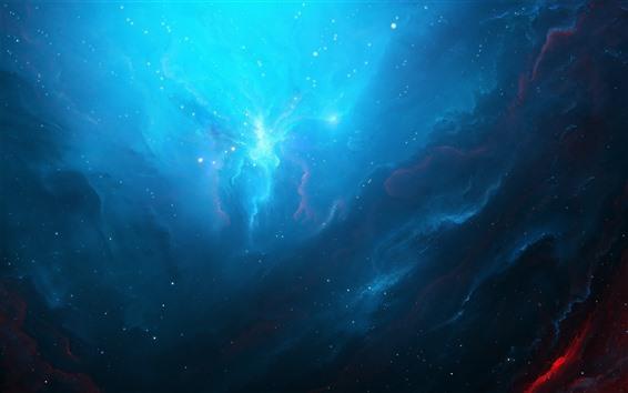 Wallpaper Blue nebula, space, light