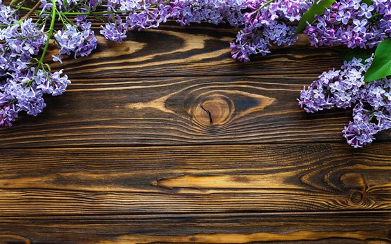 Wallpaper Blue purple flowers, lilac, wood board