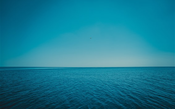 Wallpaper Blue sea, waves, horizon, sky