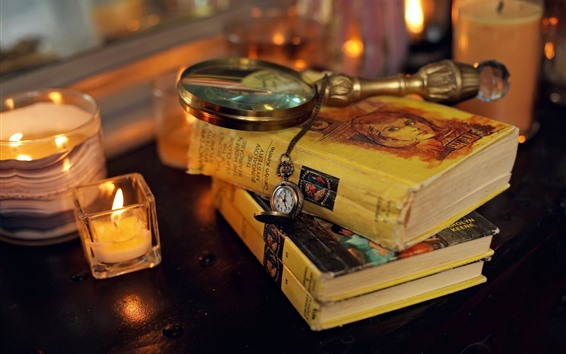 Wallpaper Books, magnifying glass, pocket watch, candles, still life