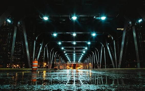 배경 화면 다리, 터널, 조명, 젖은 도로, 밤
