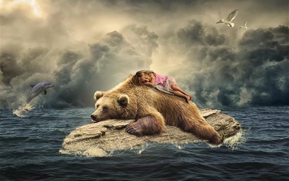 Wallpaper Brown bear, cute little girl, dolphin, seagulls, sea, creative picture