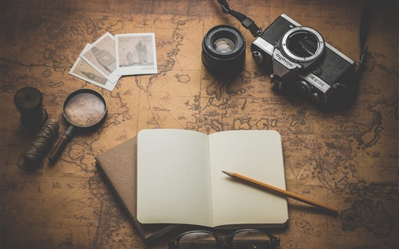 Wallpaper Camera, magnifier, notebook, map, glasses, pencil