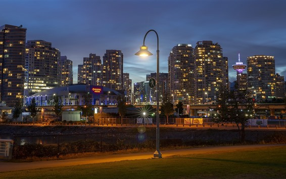 Wallpaper Canada, Vancouver, city night, lights, buildings