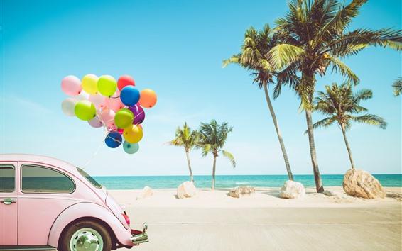 Wallpaper Car, colorful balloons, palm trees, sea, tropical