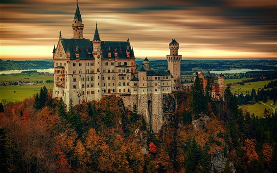 Wallpaper Castle, trees, autumn, village, Germany