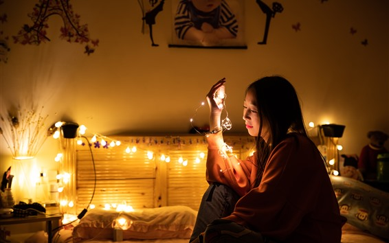 Wallpaper Chinese girl, bed, holiday lights, bedroom