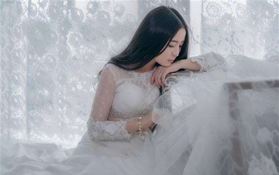 Wallpaper Chinese girl, bride, white skirt, long hair
