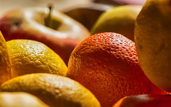 Wallpaper Citrus and apples, fruit