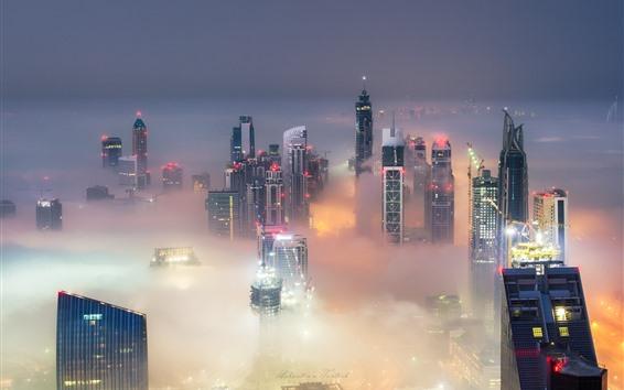 Wallpaper City, Dubai, UAE, skyscrapers, fog, lights, dusk