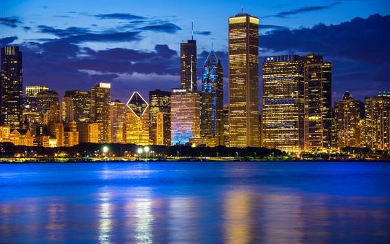 Fondos de pantalla Ciudad de noche, Chicago, Illinois, EE. UU., Rascacielos, lago Michigan, luces