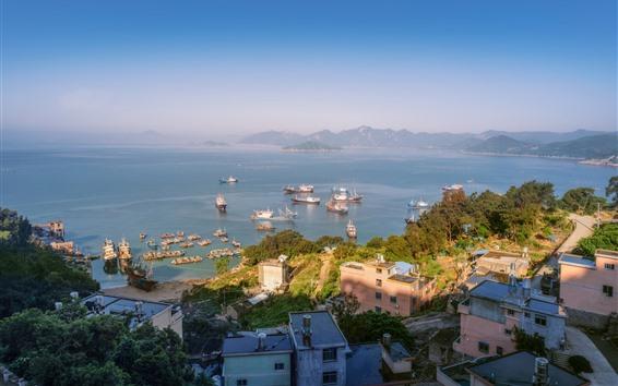 Papéis de Parede Cidade, costa, cais, navio, casas, mar, ilhas