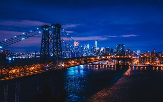 Papéis de Parede Noite cidade, ponte, rio, iluminação, nova iorque, eua