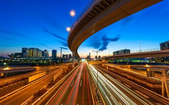 Papéis de Parede Cidade noite, viaduto, rodovia, linhas de luzes, velocidade, Tóquio, Japão