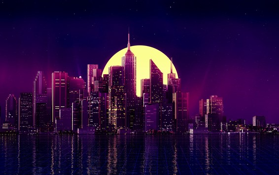 Papéis de Parede Cidade, noite, arranha-céus, lua, imagens de arte