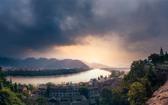 Wallpaper City, river, houses, mountains, clouds, sky, dusk, China
