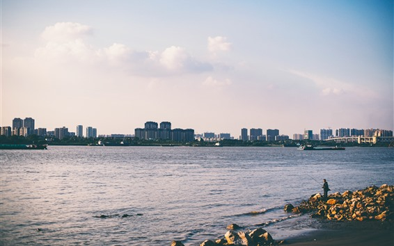 배경 화면 도시, 강, 바위, 피셔