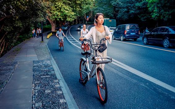 배경 화면 도시, 도로, 소녀, 자동차, 자전거