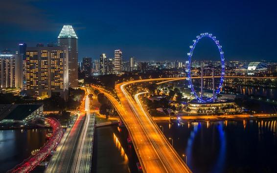 Обои Городской пейзаж, ночь, дороги, колесо обозрения, огни, здания