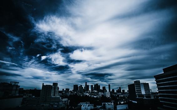 Wallpaper Clouds, sky, buildings, skyscrapers, city, dusk