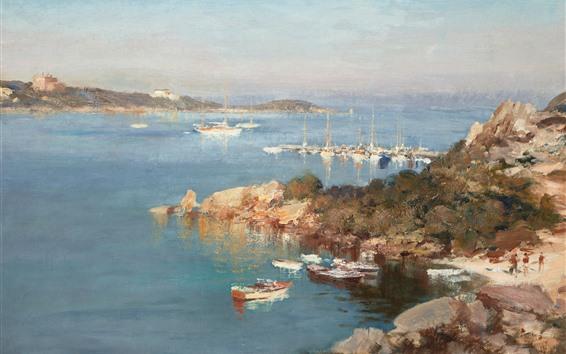Wallpaper Coast, sea, boats, pier, oil painting