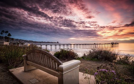 Wallpaper Coast, sea, pier, bench, clouds, sunset