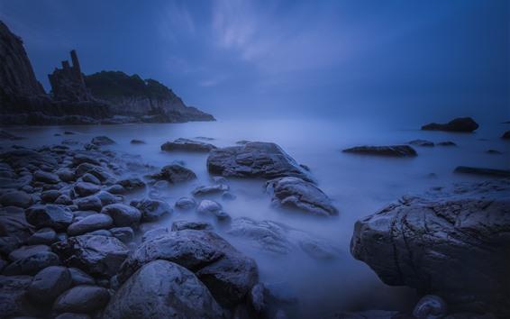 Wallpaper Coast, sea, rocks, dusk