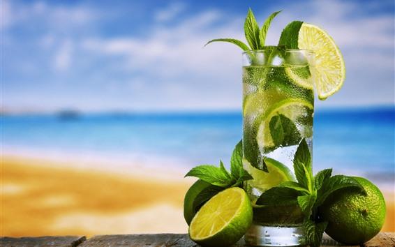 Papéis de Parede Cocktail, limão, hortelã, bebidas, copo de vidro