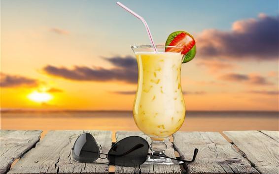 Wallpaper Cocktail, summer drinks, sunglasses, sea